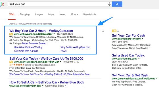 Google Ads exemple